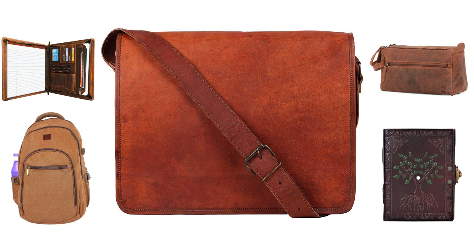 RusticTown's genuine leather bags, notepads, and more starting at $12