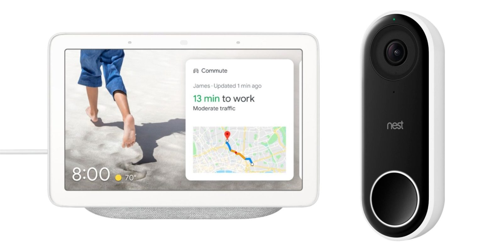 Save $129 when you bundle Google Nest Hub with a Hello Video Doorbell at $229