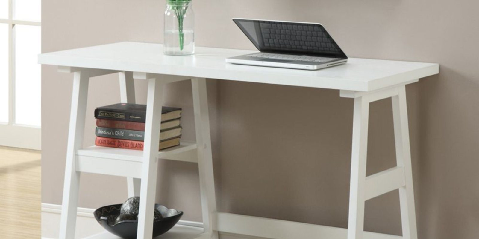 Shake up a home office for $76 with the all-white Trestle Desk (Save 25%)
