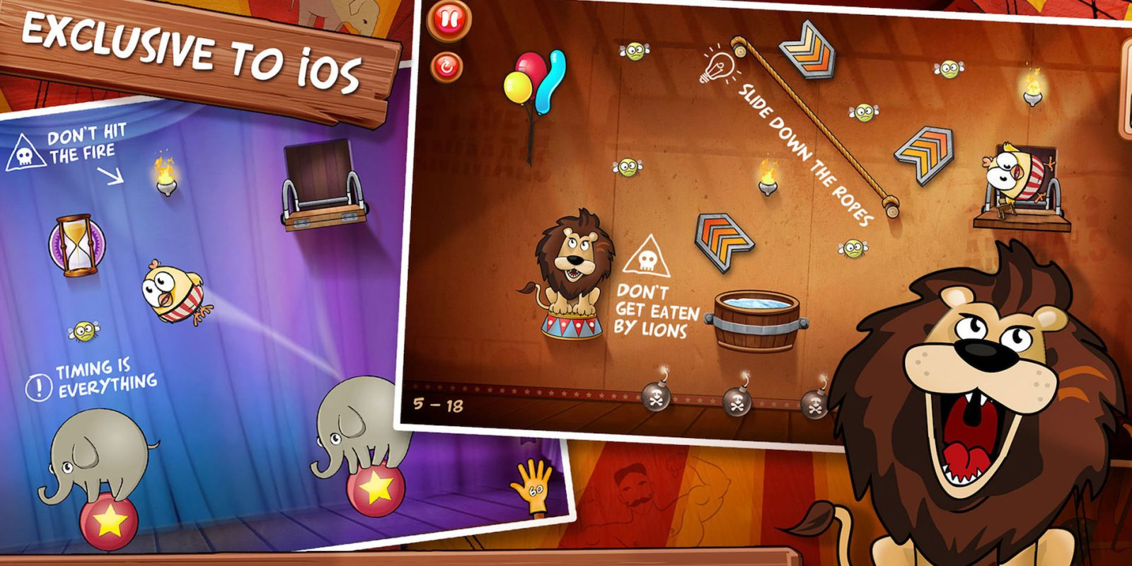 Trapeze your way through Drop The Chicken 2's circus puzzles for FREE on iOS