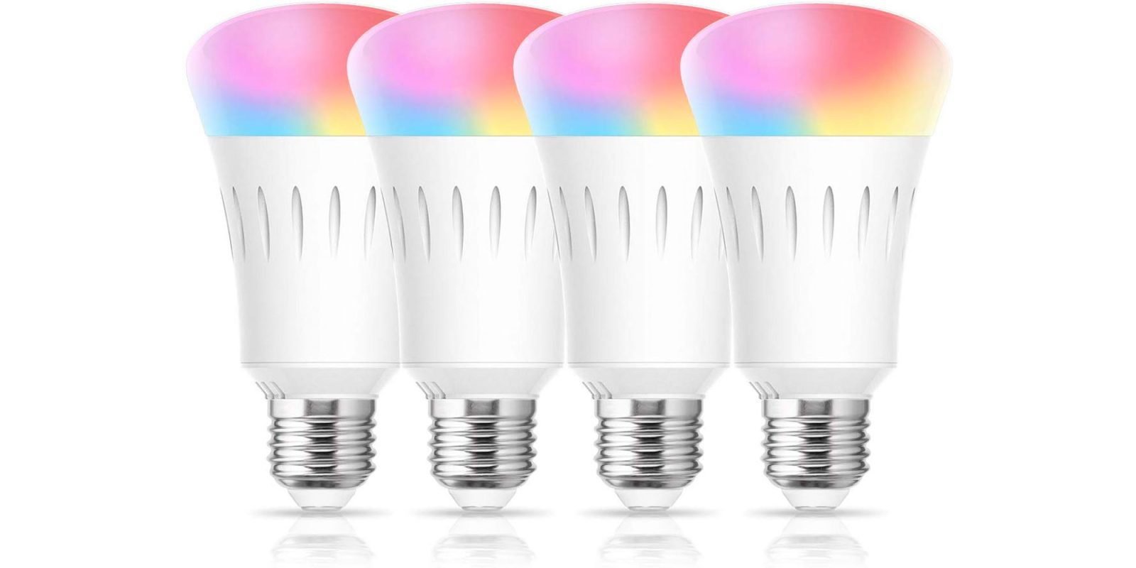 This 4 pack of RGB LED smart bulbs works with Alexa, Siri, + Assistant for $20