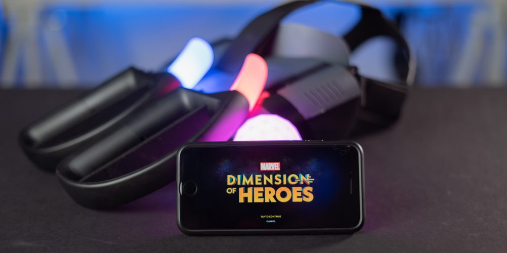 Lenovo Mirage AR with MARVEL Dimension of Heroes on table
