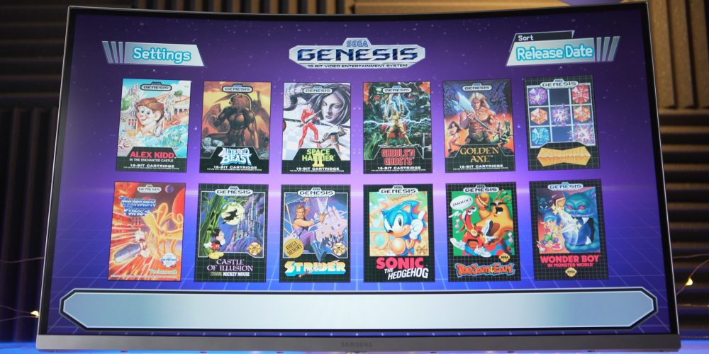 Main menu on Sega Genesis Mini