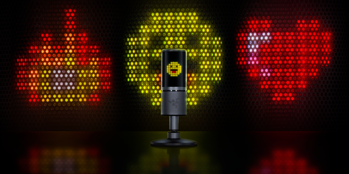Razer Seiren Emote in front of a wall of Emoticons