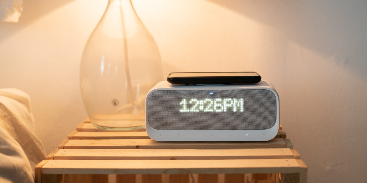 Anker Soundcore Wakey on nightstand wireless charger