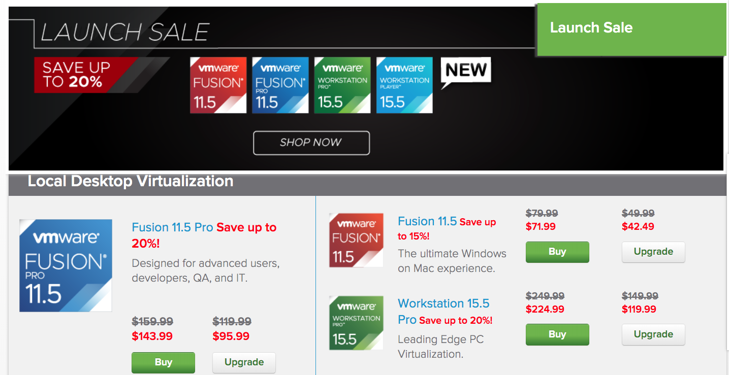 VMware new software at 20% off