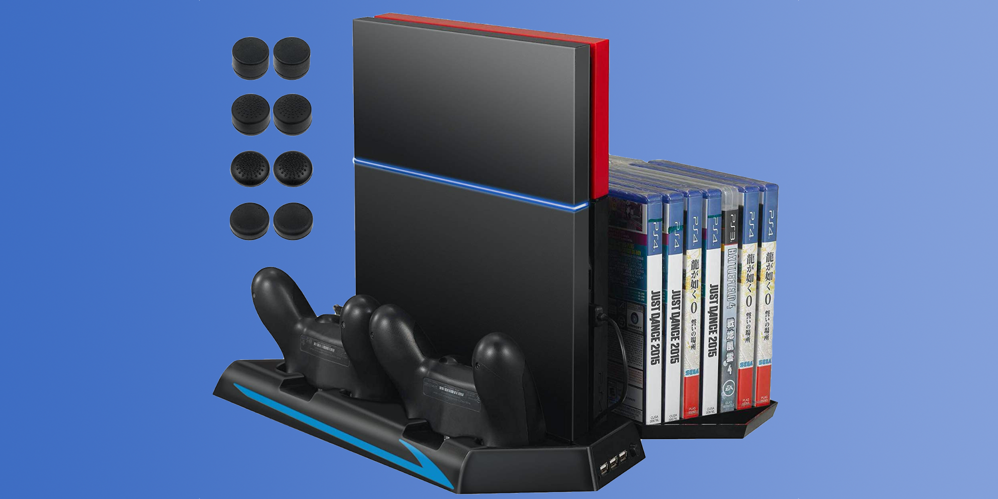 This vertical PS4 stand charges your controllers and more at $13 Prime shipped