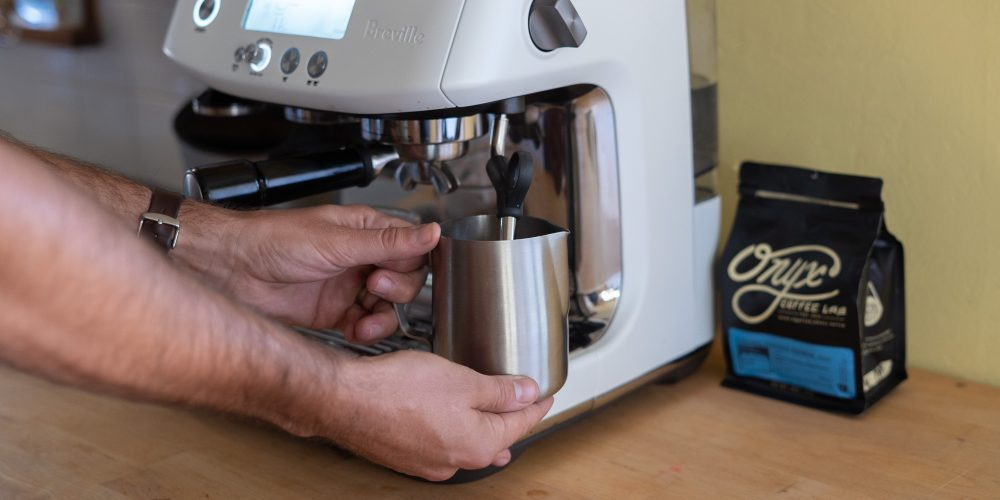 steaming milk with the Barista Pro