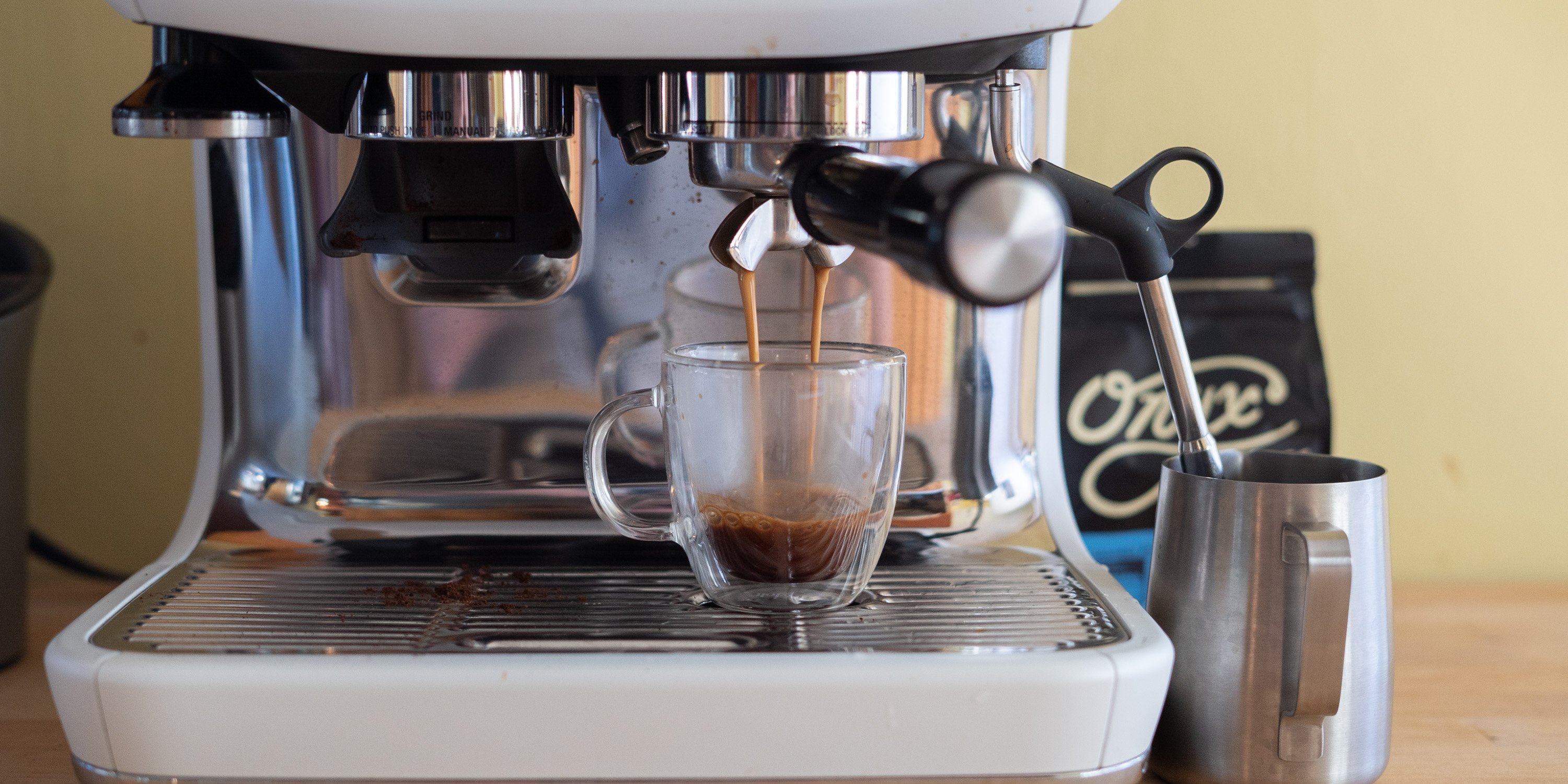extracting espresso with the Breville Barista Pro