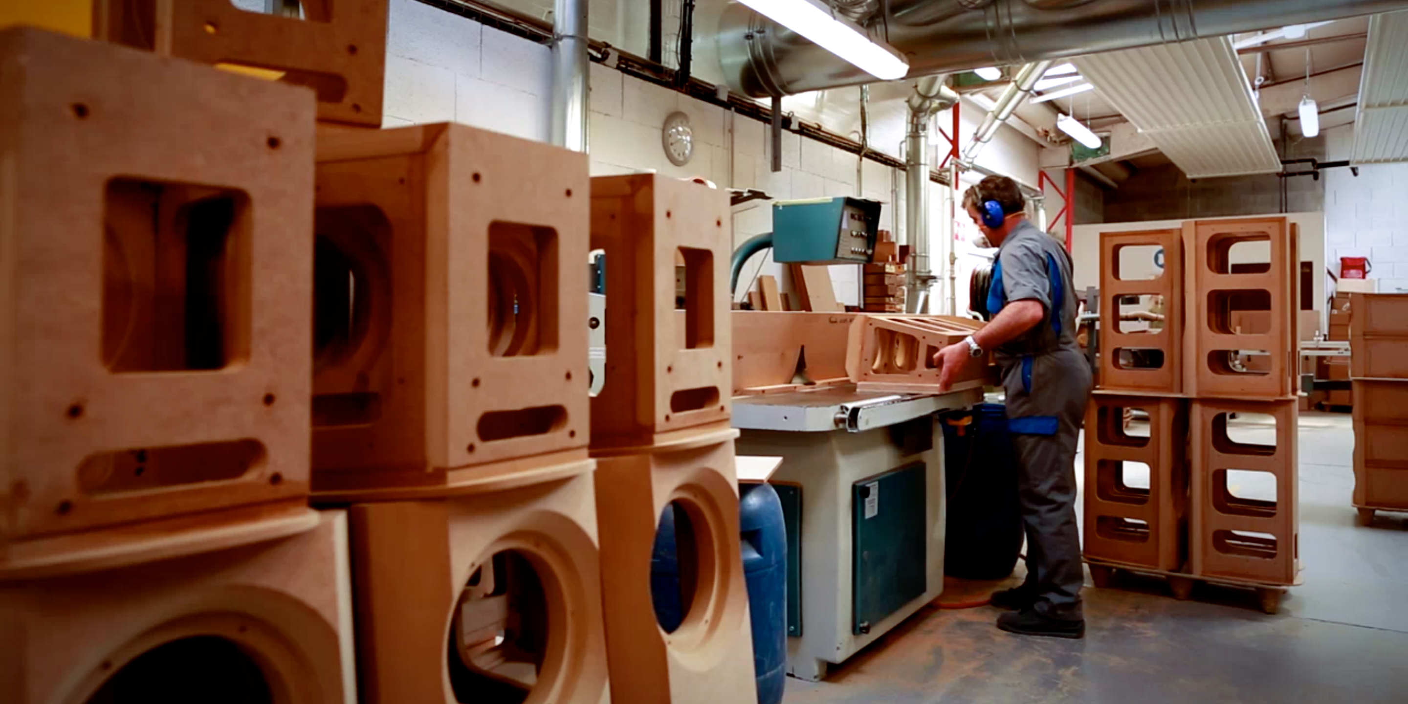 Fabricating speaker enclosure's at Focal's facility in Bourbon Lancy
