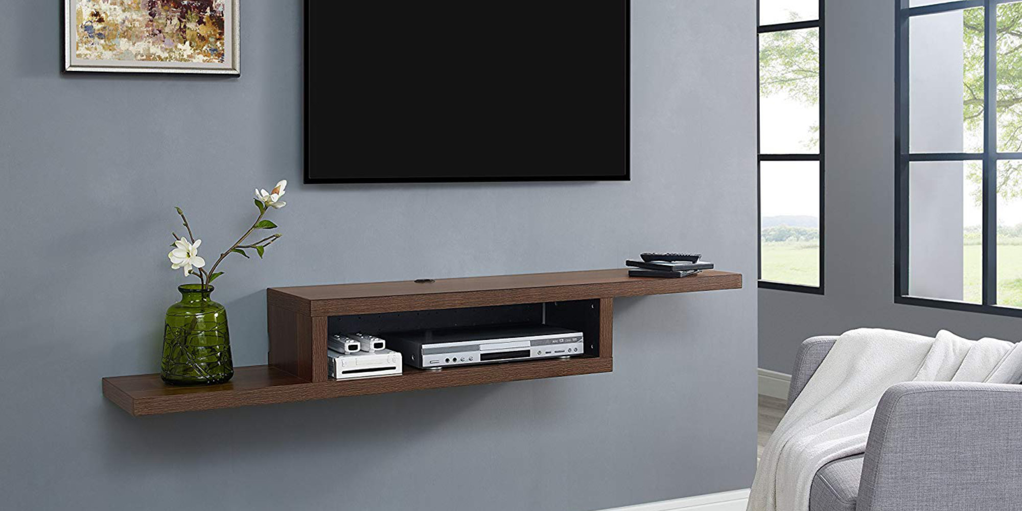 Asymmetrical Wall Mounted Tv Shelf Martin Furniture 60 In Entertainment Centers Tv Stands Home Garden Adelimahengineering Co Tz