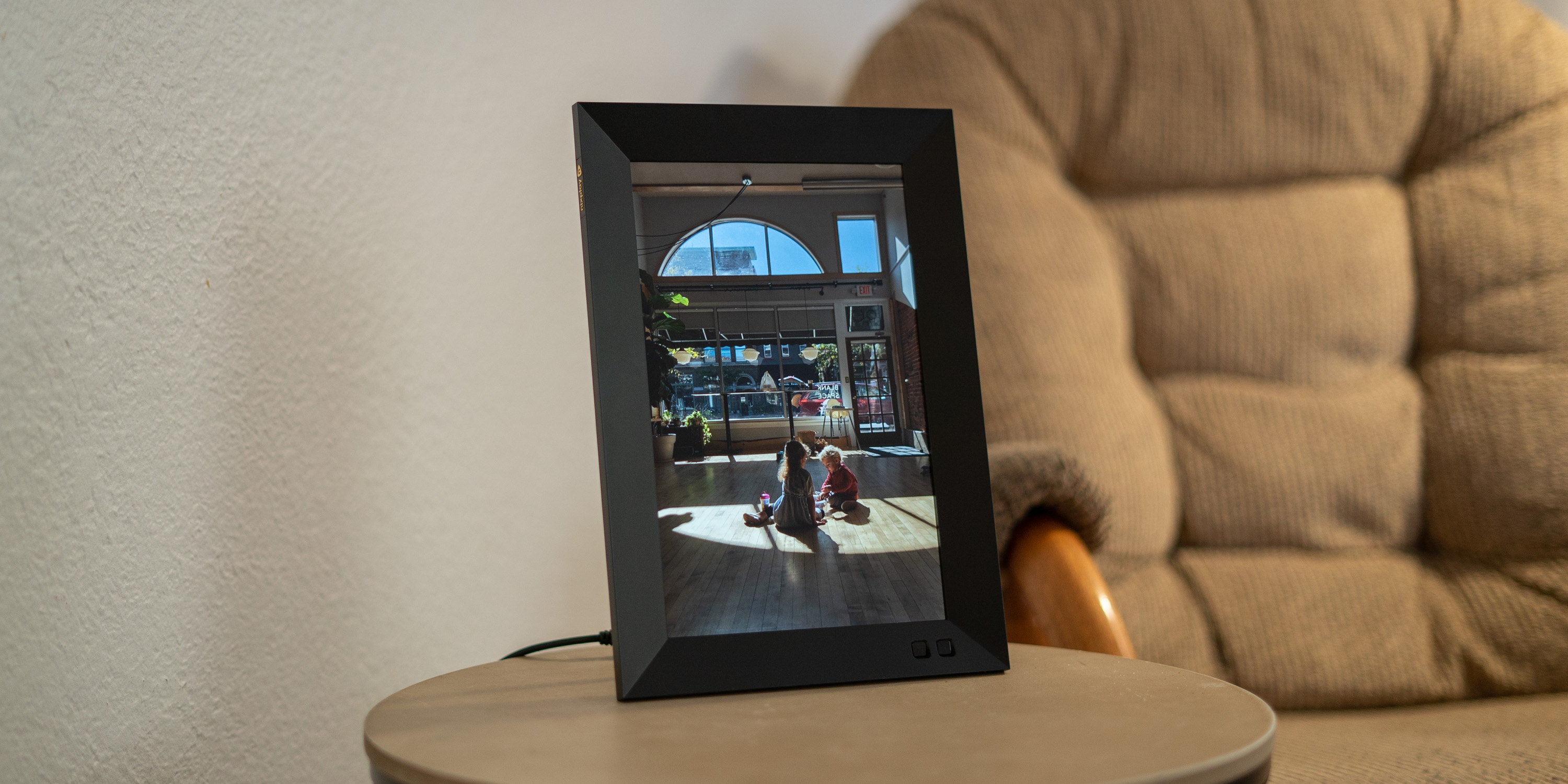 Nixplay Smart Photo Frame on side stand