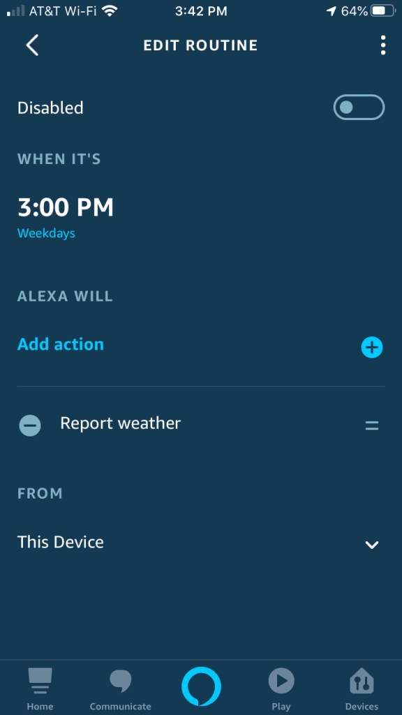 Alexa Disable Routine