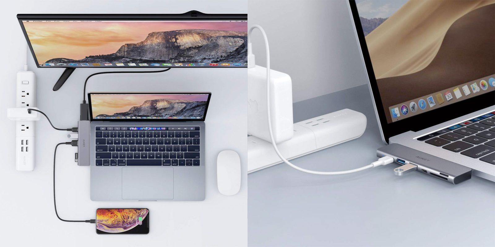 Aukey's 7-in-1 USB-C hub has Thunderbolt 3 passthrough for $30 (Reg. $40)