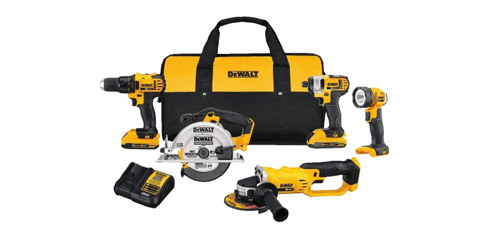 Score five DEWALT tools, two batteries, and carrying bag for $299 (Reg. $529)