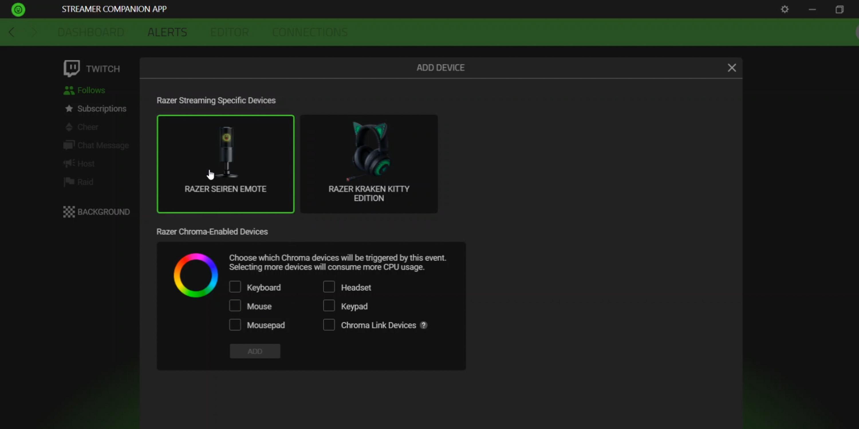 Streamer Companion app alert tab