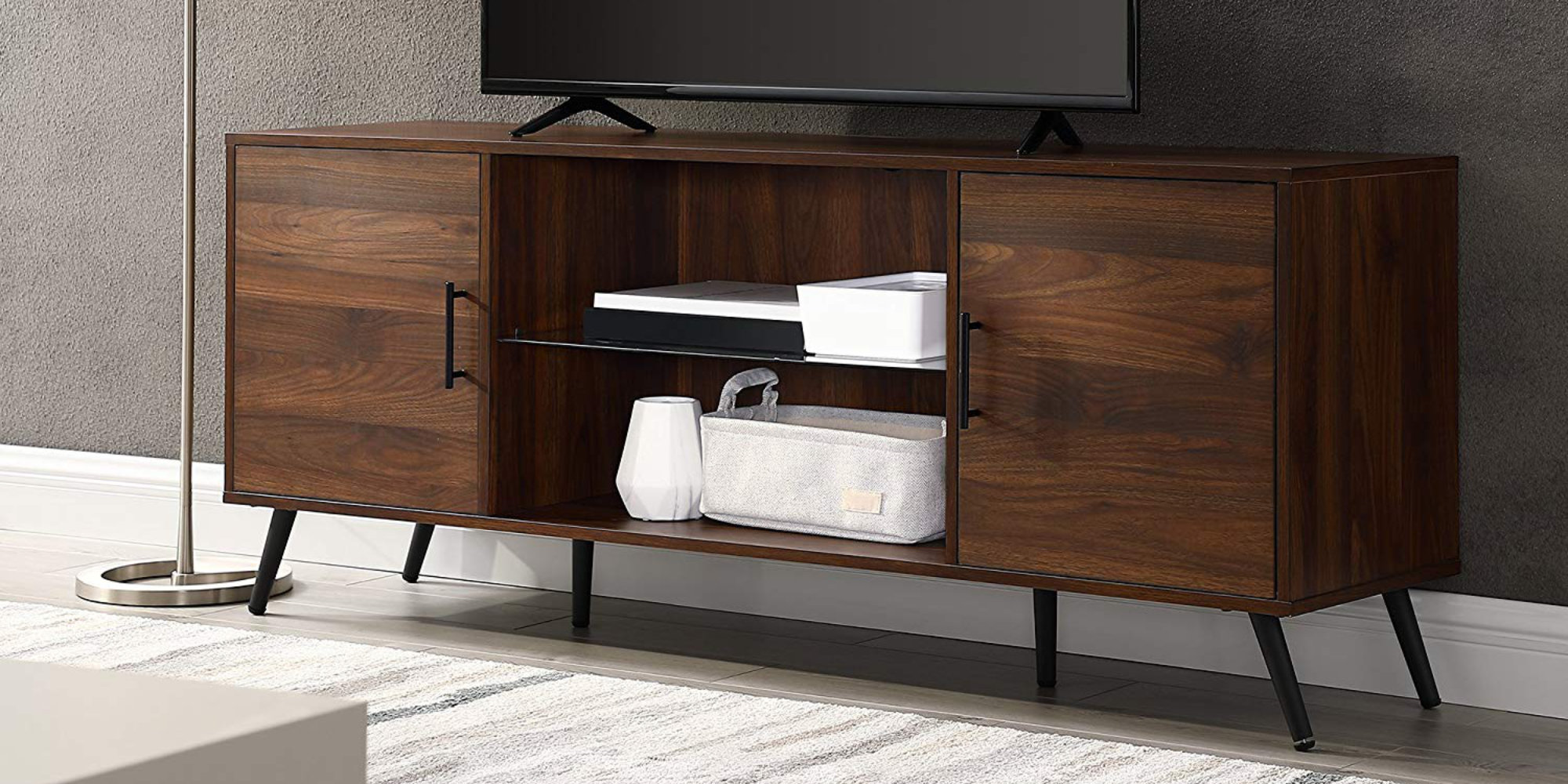 Walker Edison's mid-century modern Dark Walnut TV Stand returns to $138