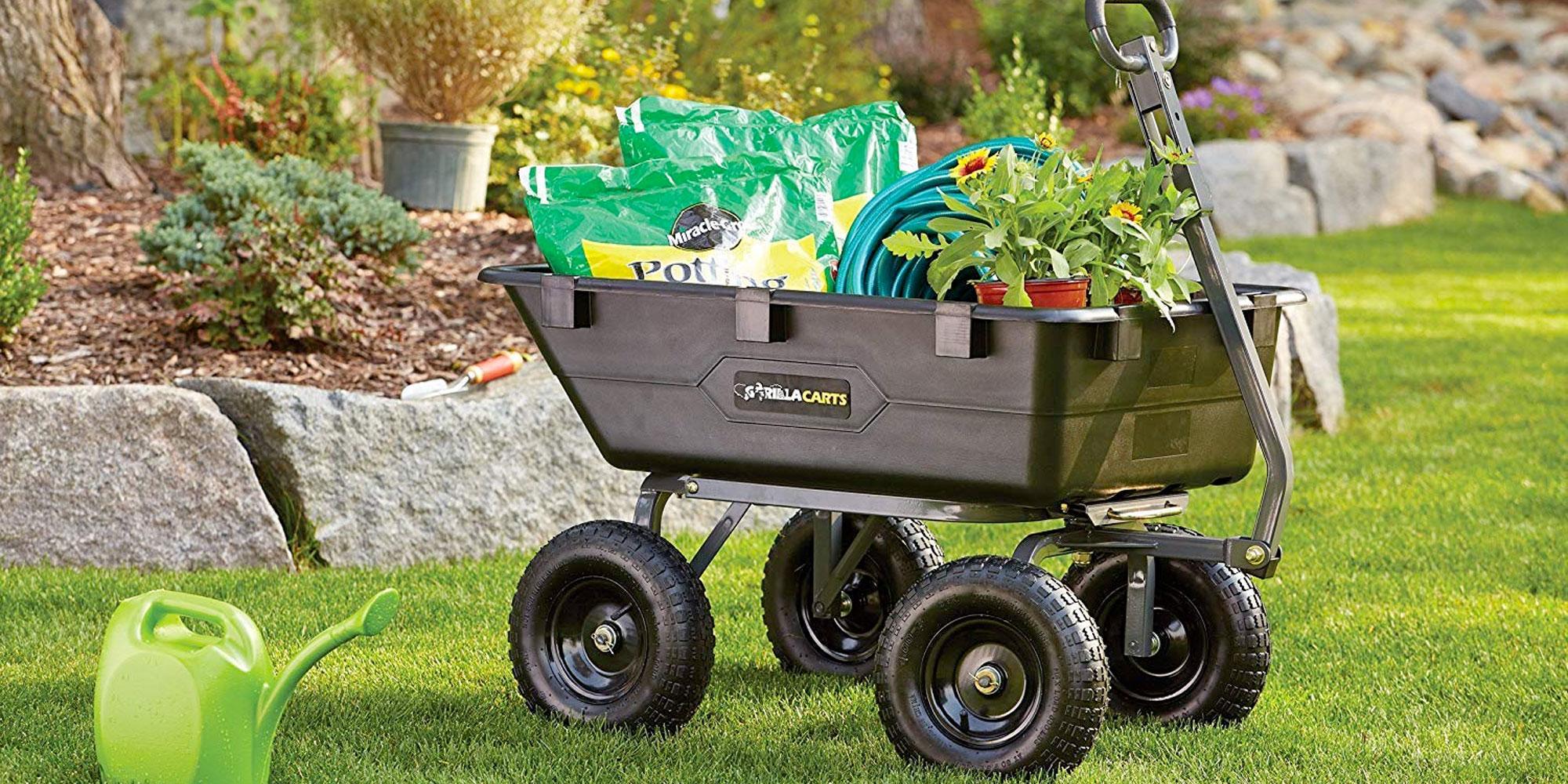 Gorilla Carts 1,200 lb Steel Dump Cart Wagon Garden Yard Heavy Duty Lawn NEW