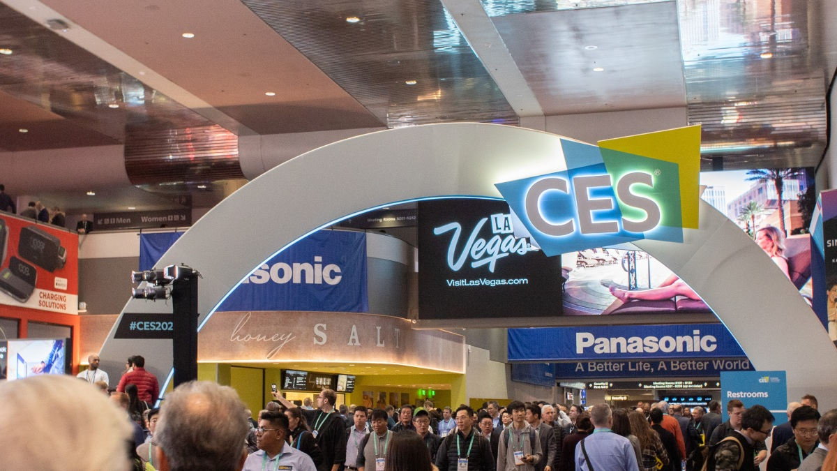 The banner inside Central Hall of the CES 2020 show