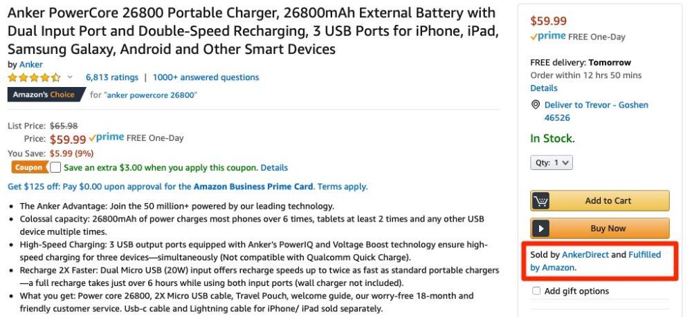 Anker powercore shipped by Amazon