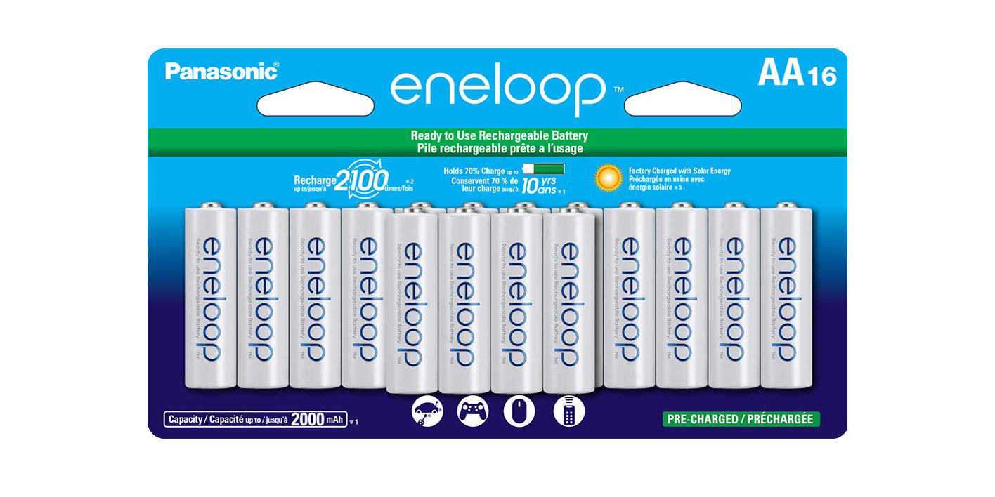 Get 16 Panasonic eneloop AA rechargeable batters for $30 shipped