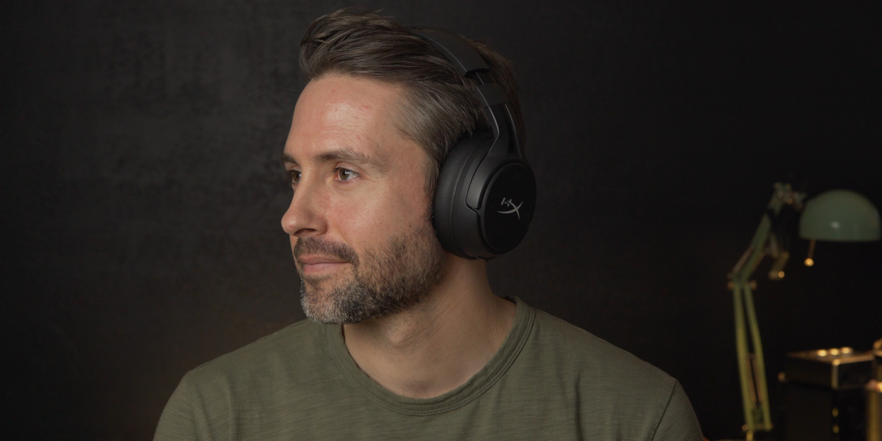 Wearing the HyperX Cloud Flight S headset