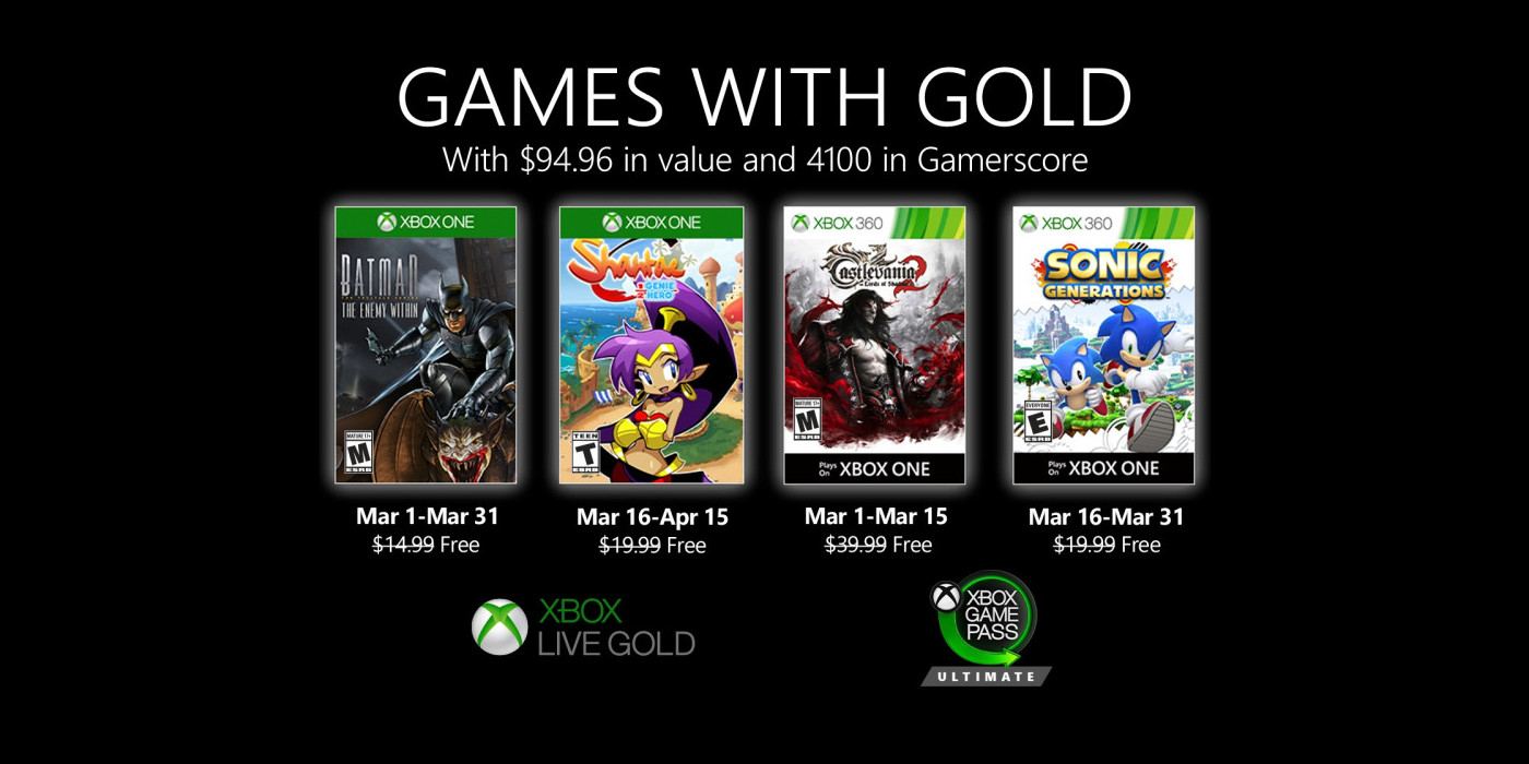 March Games with Gold freebies unveiled: Batman, Sonic, more - 9to5Toys