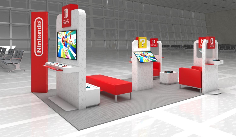 Nintendo airport lounge mock up