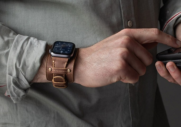Pad & Quill's leather cuff Apple watch band