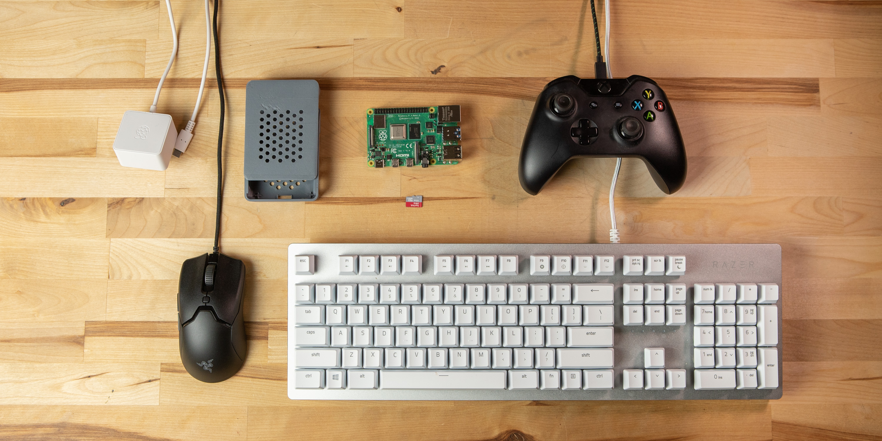 flat lay of Raspberry Pi 4 retro gaming components
