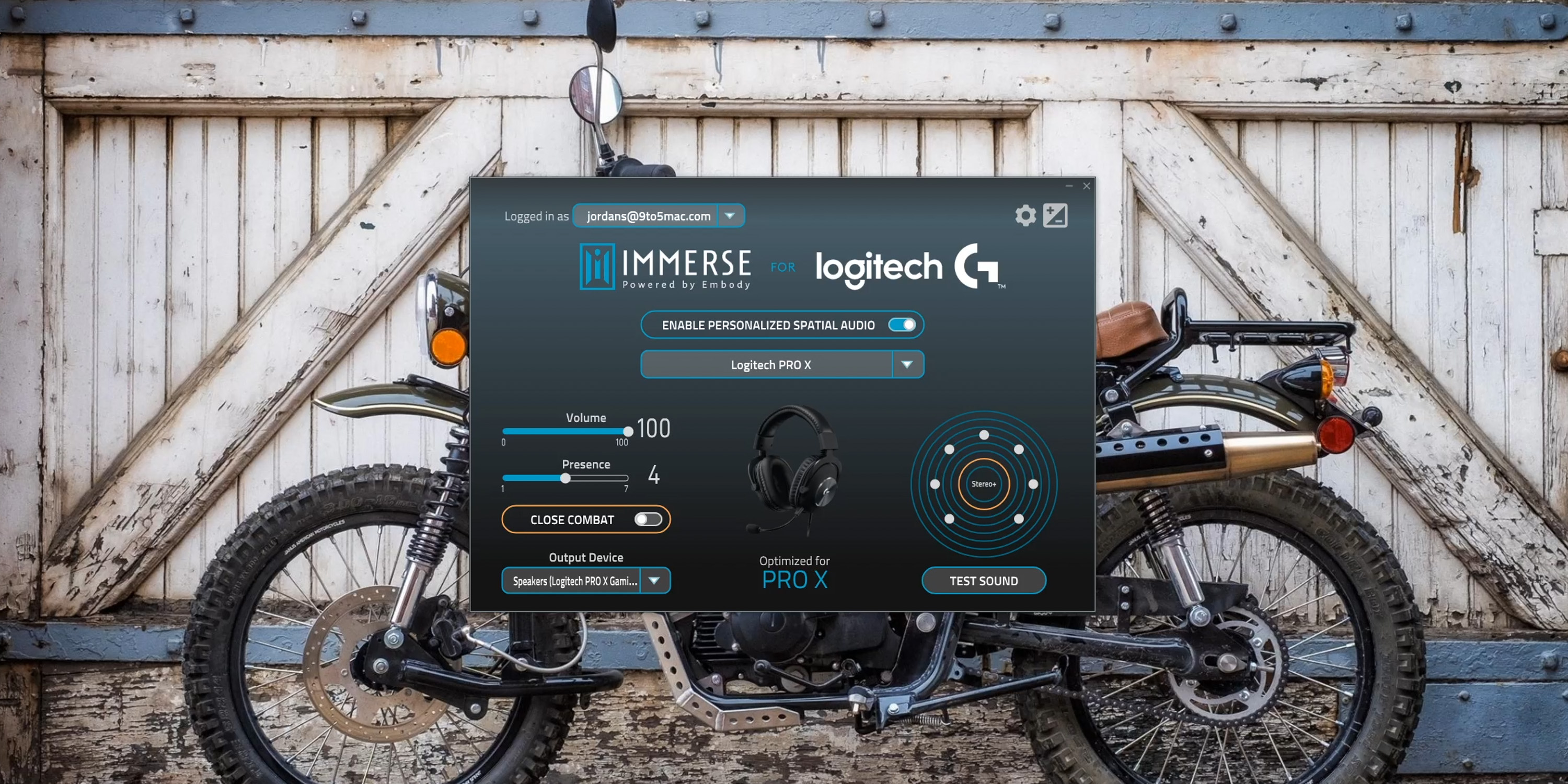 Settings inside Immerse for Logitech G