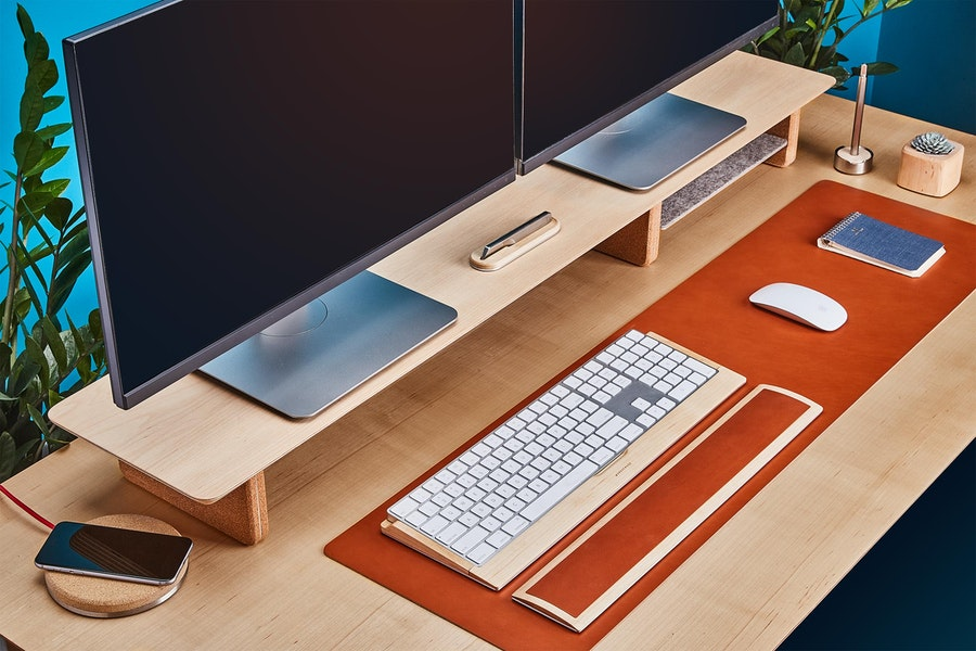 Grovemade new leather desk pad in tan