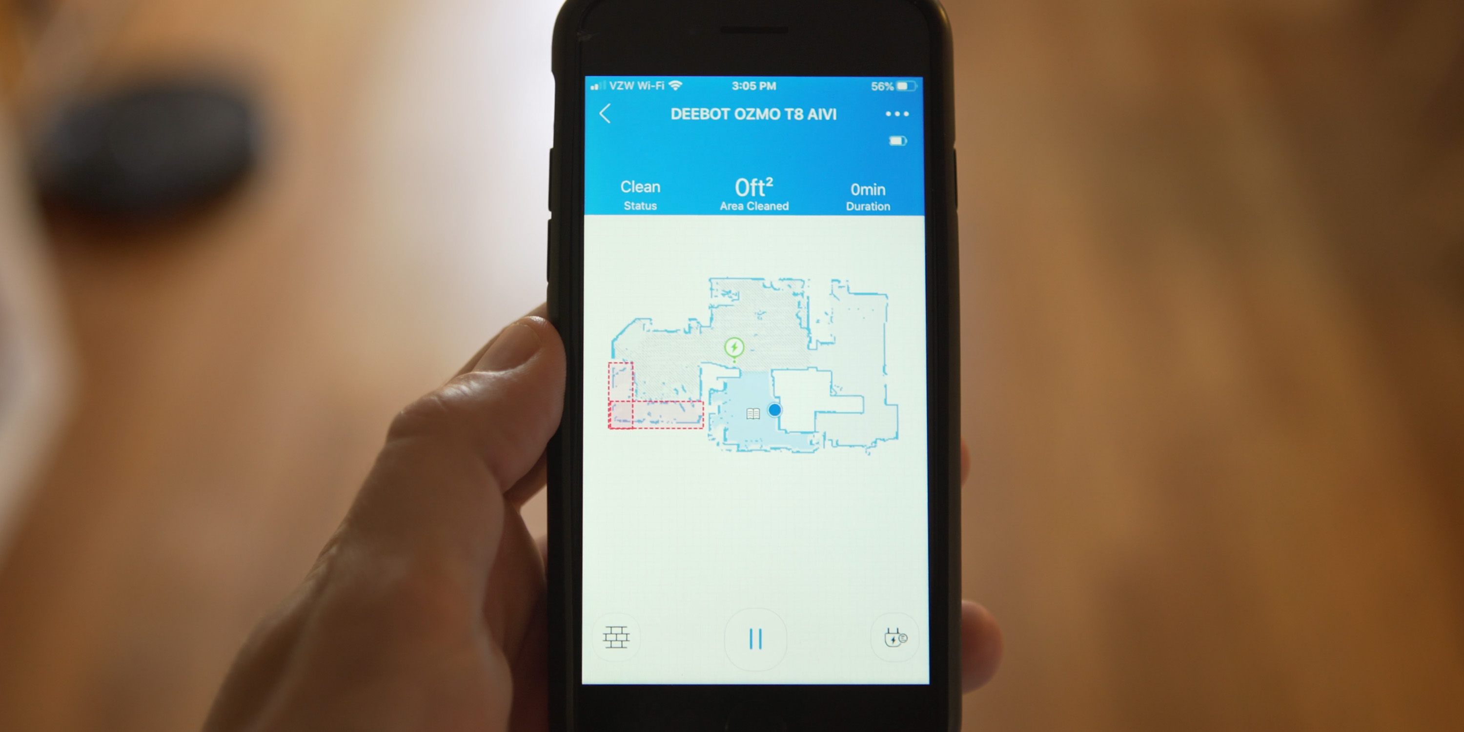Map of floor in the ECOVACSHOME app
