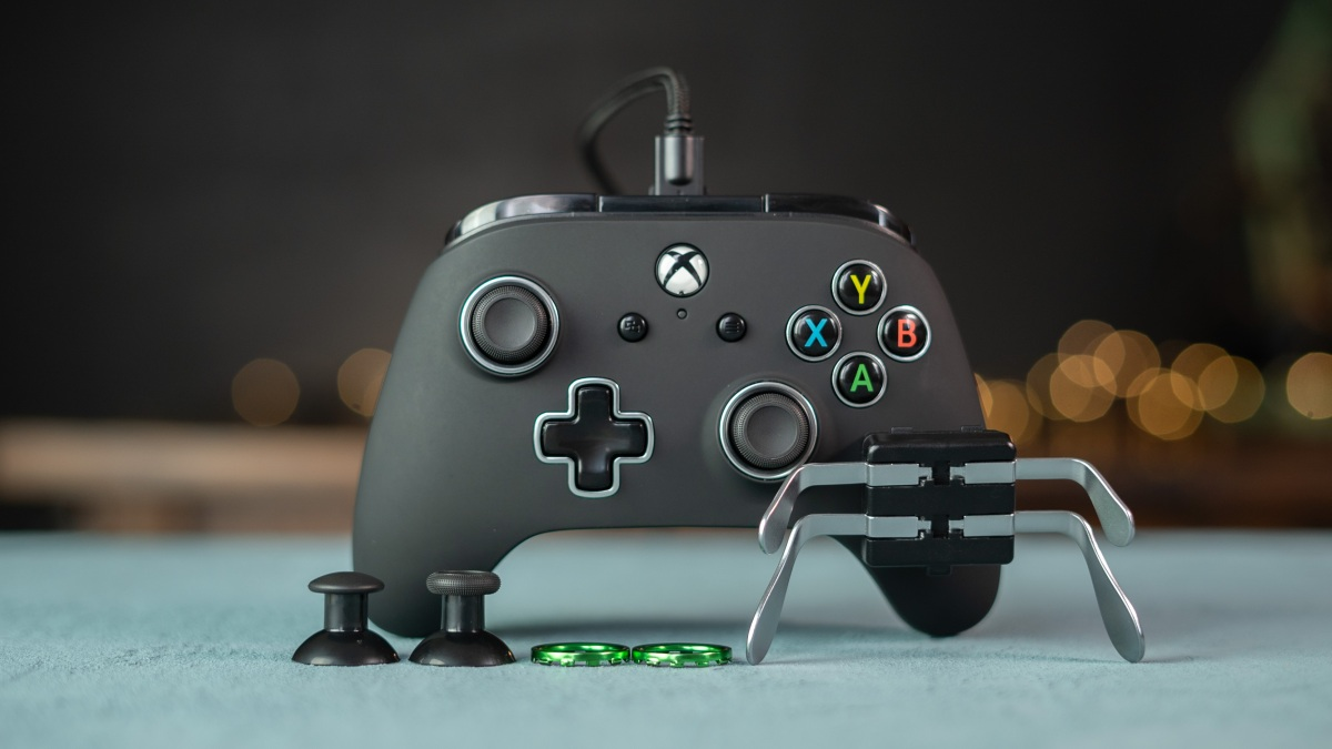 PowerA Fusion Pro controller and components on desk