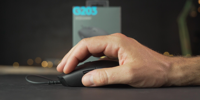Holding the Logitech G203 Lightsync mouse