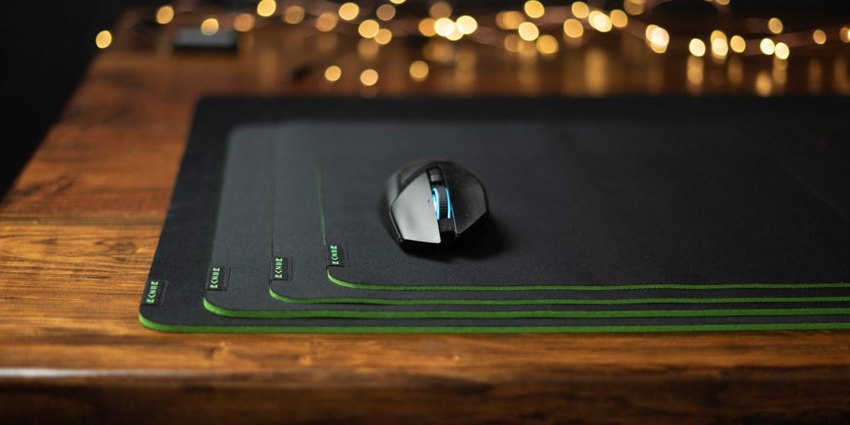 Razer Gigantus V2 mousepads stacked on desk