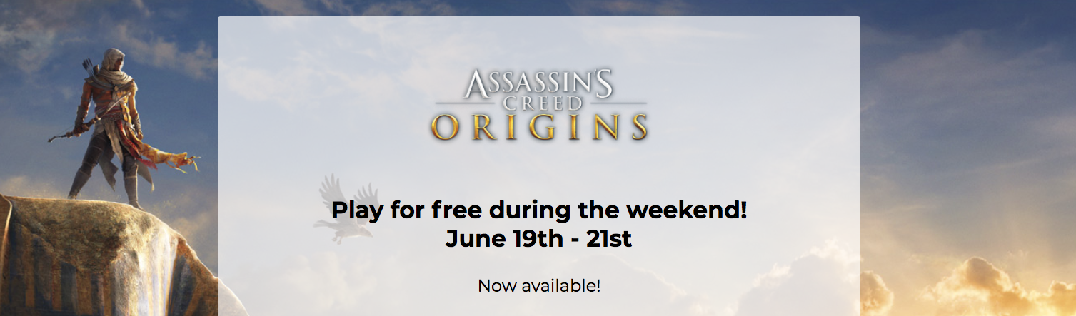 Assassin's Creed Origins is free to play