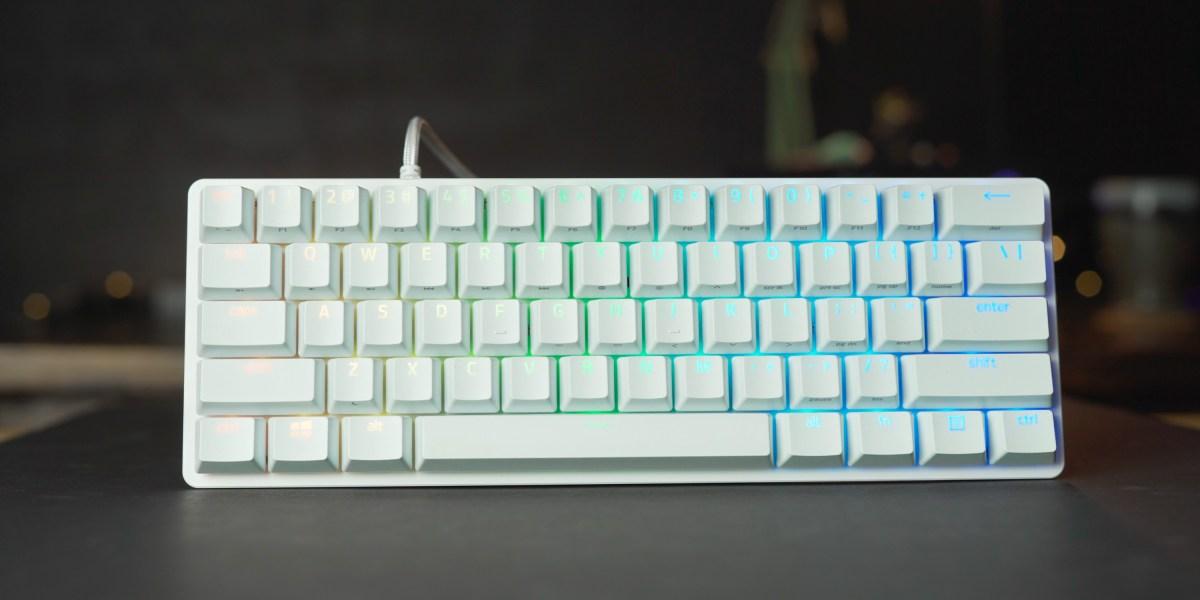 Purple clicky switch on the Razer Huntsman Mini keyboard