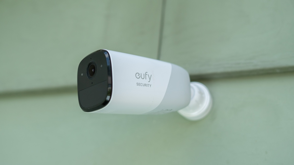 eufyCam 2 mounted on the side of a house.
