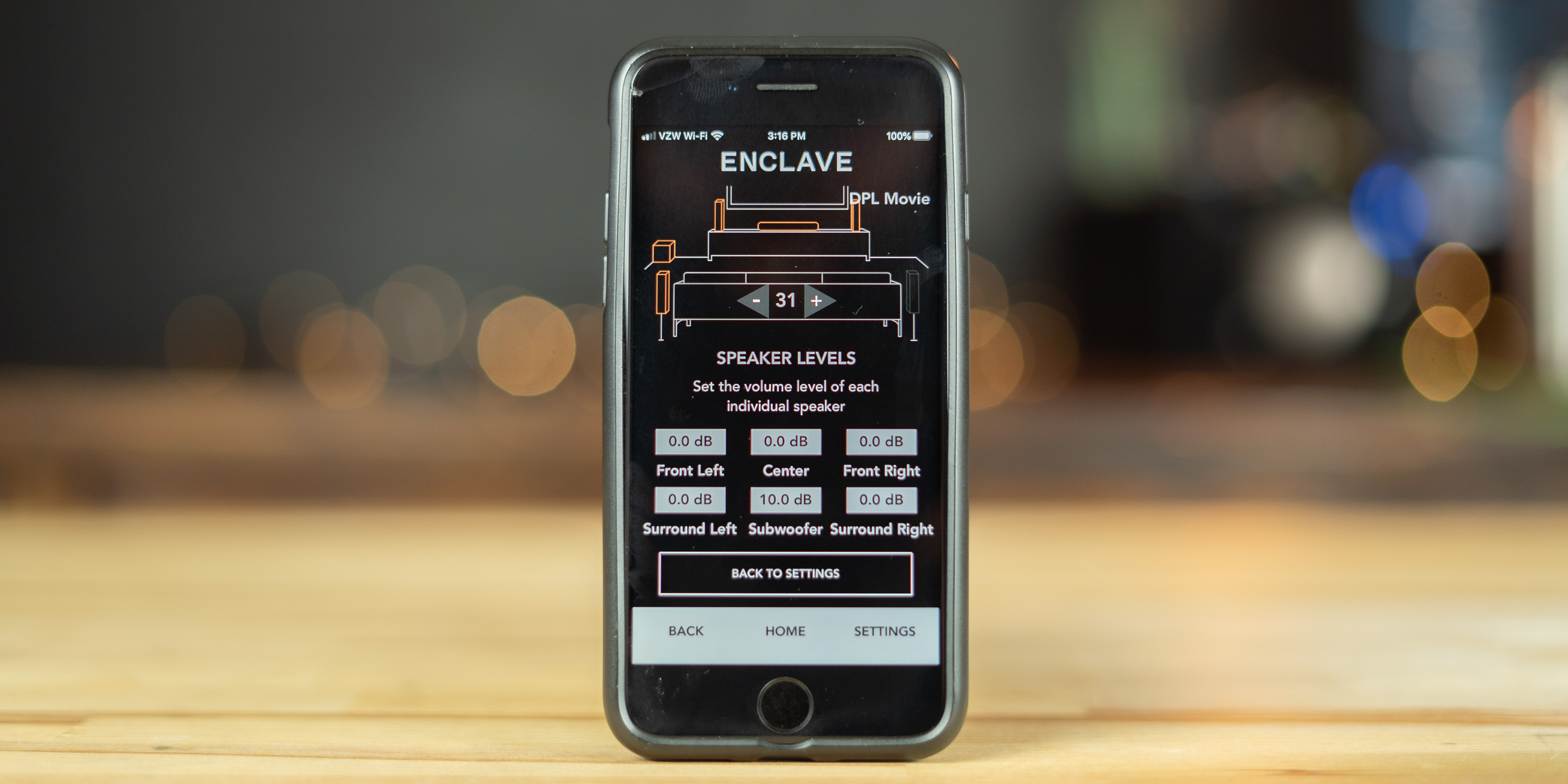 Adjusting audio settings on the Enclave CineHome II via the Enclave Audio Remote app