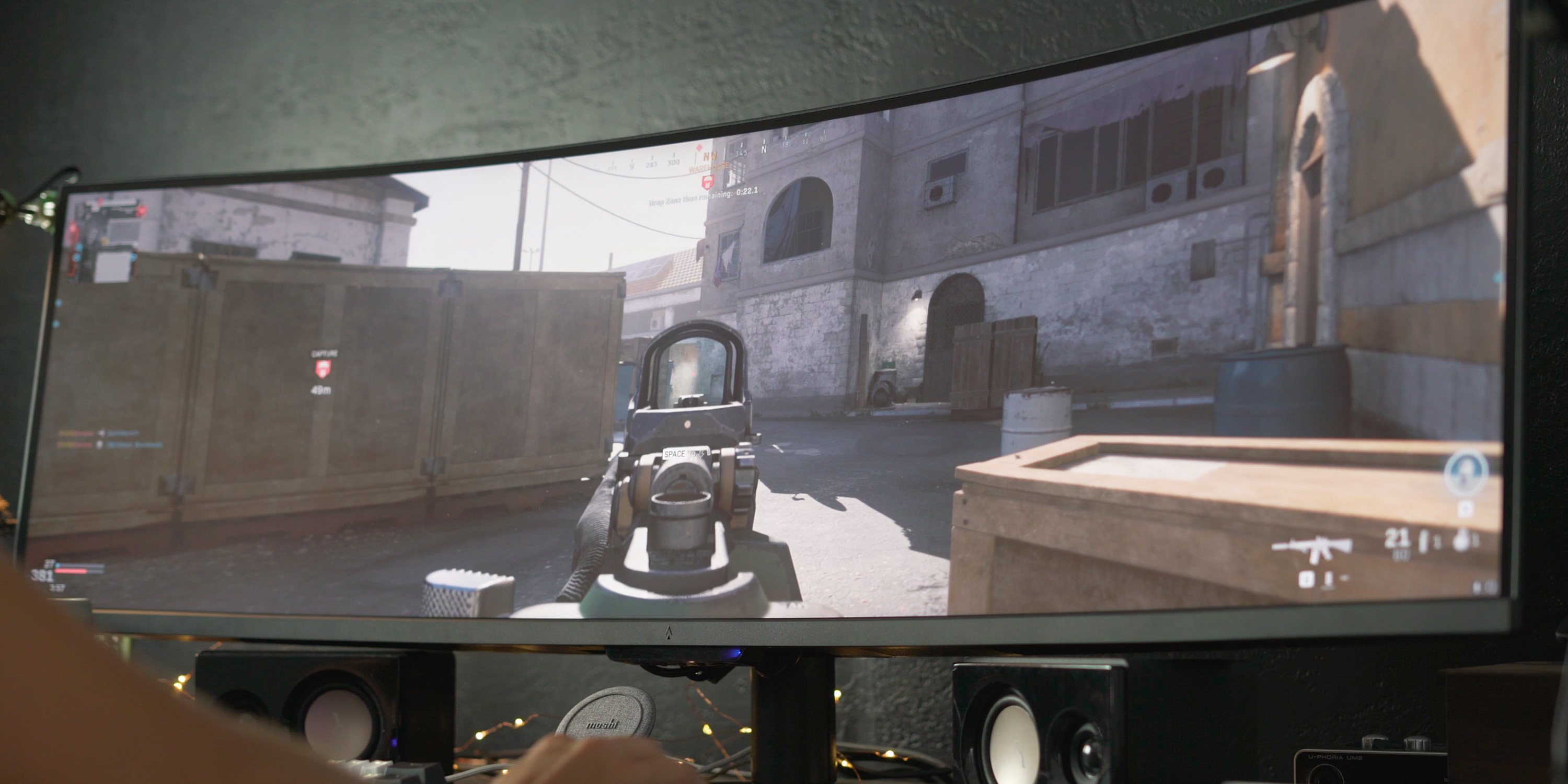 Playing Call of Duty at full resolution on the Dark Matter 49-inch gaming monitor