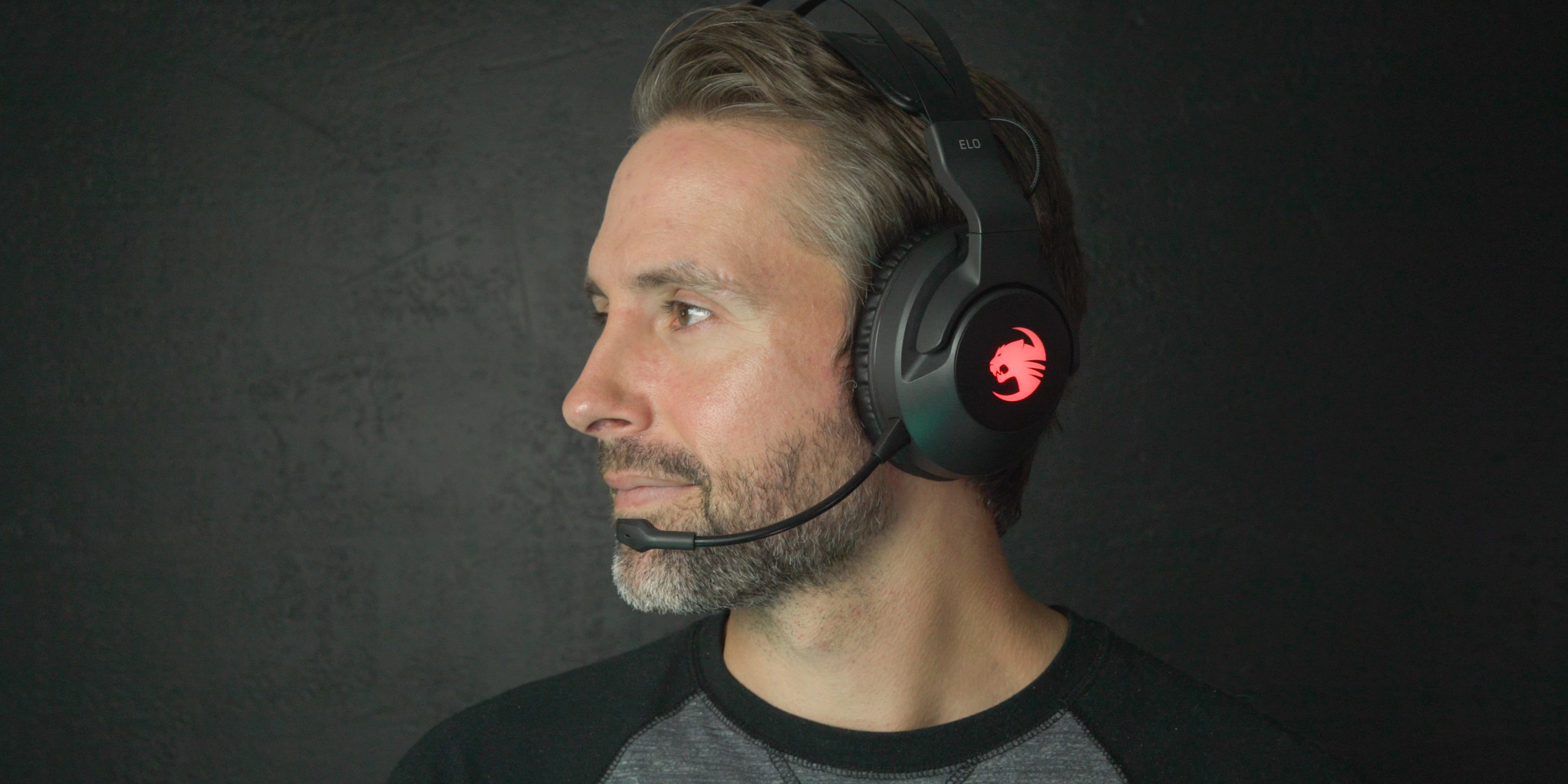 wearing the ROCCAT Elo 7.1 Air headset
