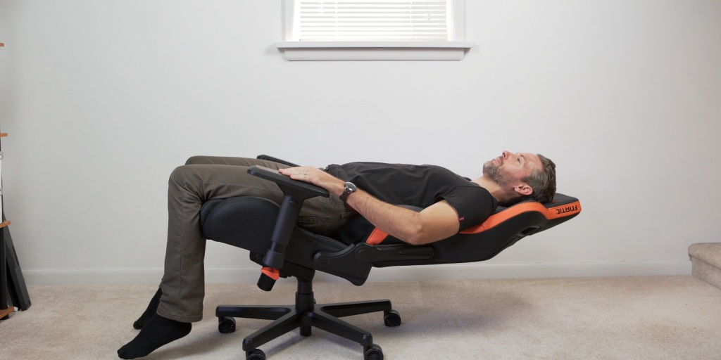 The back of the chair can go almost completely horizontal when used with the rocking function.