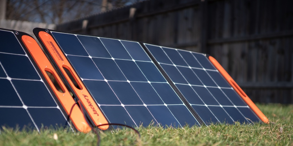 Two Solar Saga 100W panels work well together to recharge portable power stations.