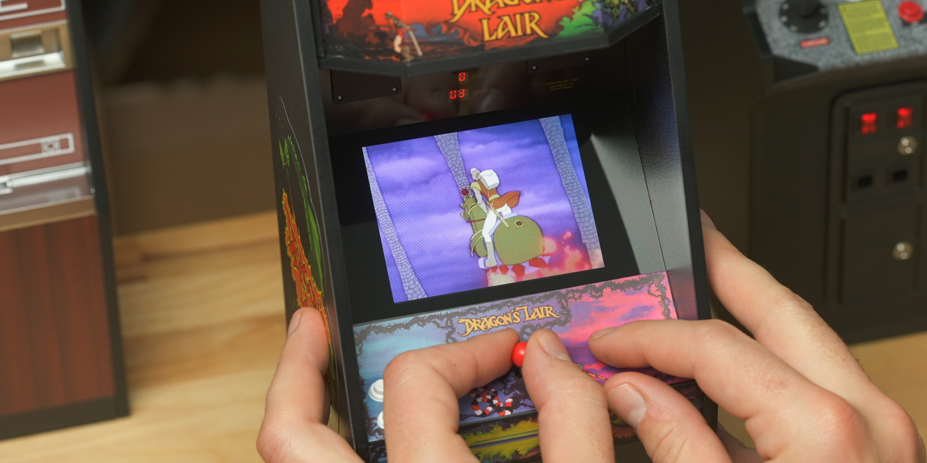 Playing the Dragon's Lair x Replicade cabinet