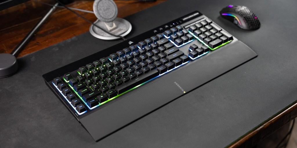 Corsair K55 RGB Pro XT set up on desk