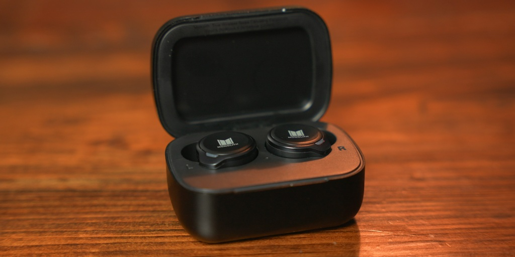 Monolith M-TWE earbuds in charging case