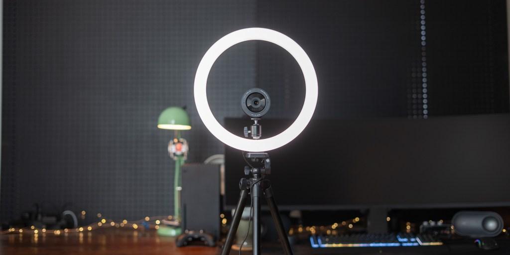 Razer Ring Light set up in front of desk