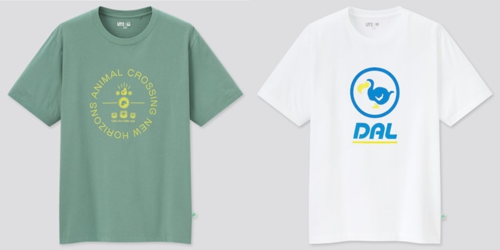 Two Animal Crossing New Horizons shirts from Uniqlo. On the left, a pale olive tee with an original graphic; on the right, a white tee featuring the Dodo Airlines logo.