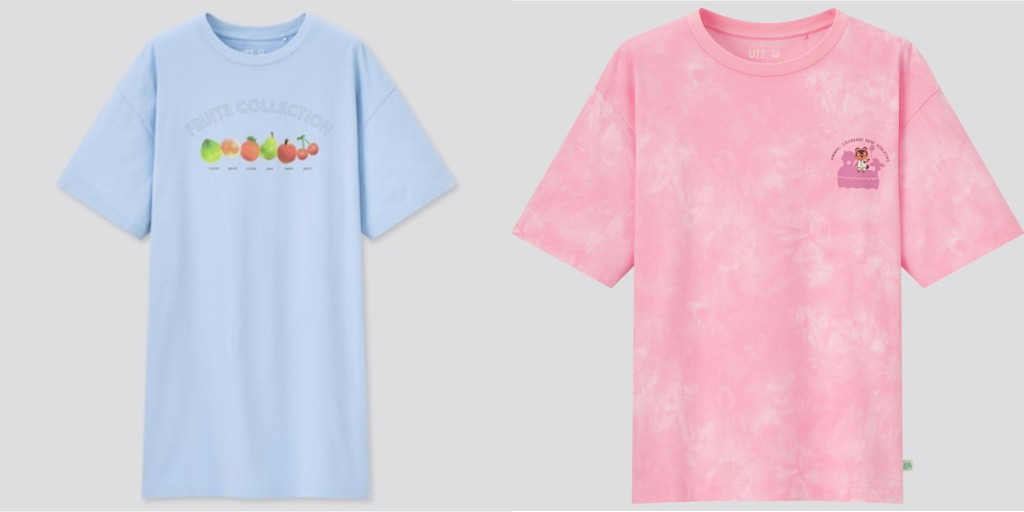 Two Animal Crossing New Horizons shirts from Uniqlo. One the left, a lightblue tunic reading 'fruits collection' with various fruits labeled beneath; on the right, a pink tie-dye tee featuring tom nook on the pocket.